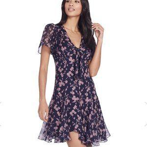 CINQ À SEPT Annali Tie Front Ruffled Silk Dress 8
